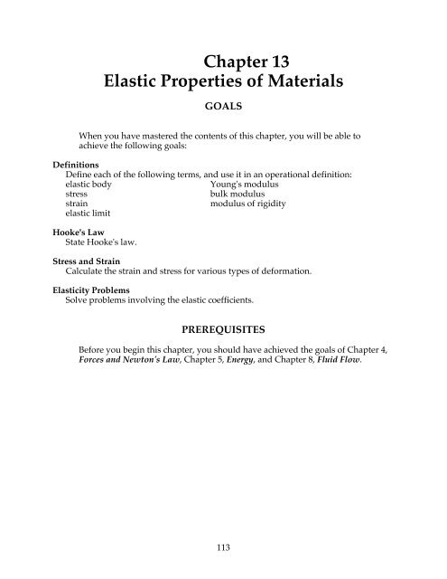Chapter 13 Elastic Properties Of Materials Doane College Physics