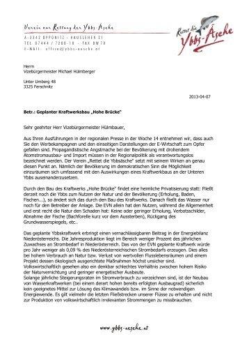 """Stellungnahme des Vereins """"Rettet die Ybbsäsche"""""""