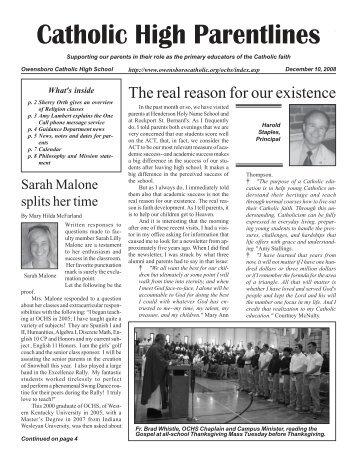Catholic High Parentlines - Owensboro Catholic Schools