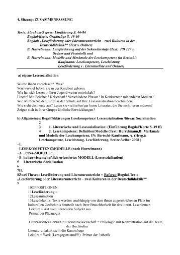 4. Sitzung: ZUSAMMENFASSUNG Texte: Abraham/Kepser ...