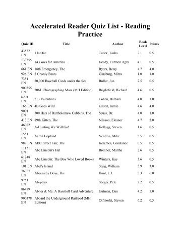 Accelerated Reader Quiz List - Reading Practice - It works!