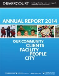 Dovercourt Recreation Association Annual Report 2014