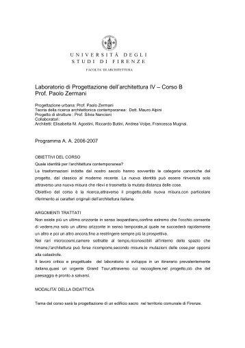Corso B Prof. Paolo Zermani - Università degli Studi di Firenze