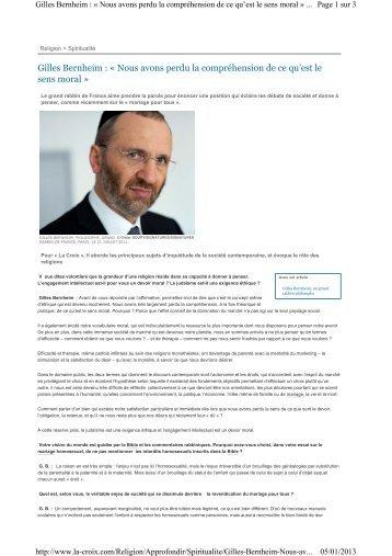 Gilles Bernheim : « Nous avons perdu la compréhension de ... - AJCF
