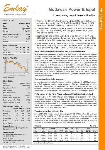 GPIL Q3FY12 Result Update - Emkay Global Financial Services Ltd.