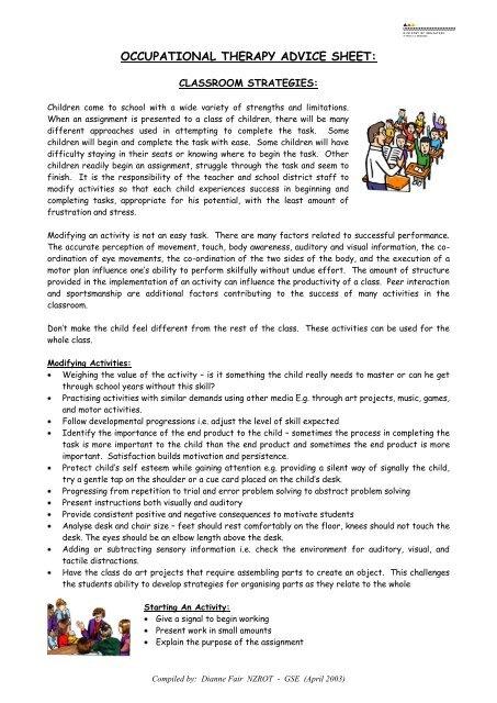 OT Classroom Strategies pdf - ClickSpecialEdNZ