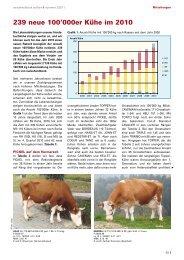 239 neue 100'000er Kühe im 2010 - Swissherdbook
