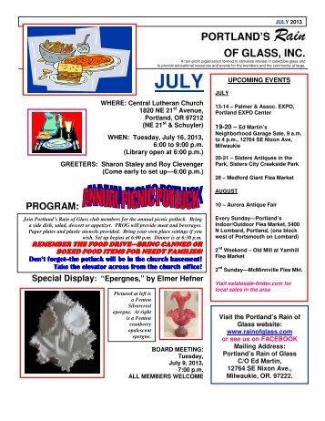 July 2013 Newsletter - Rain of Glass