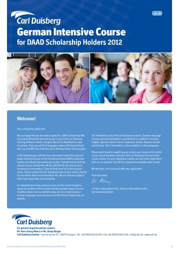 for DAAD Scholarship Holders 2012
