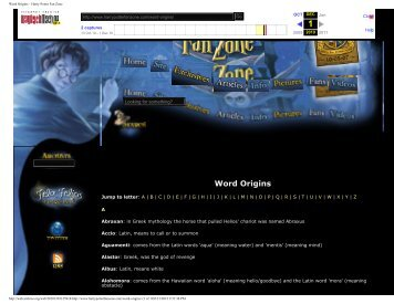 Word Origins – Harry Potter Fan Zone - Harry Potter Places