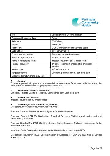 Medical Devices Decontamination Policy - the Royal Cornwall ...