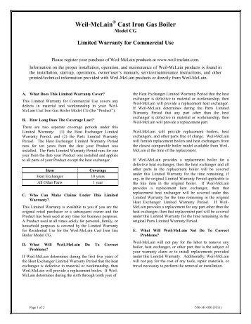Warranty Cast Iron Gas & Oil Commercial - Weil-McLain