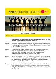 Tenerife Health & Training Camp - Spies