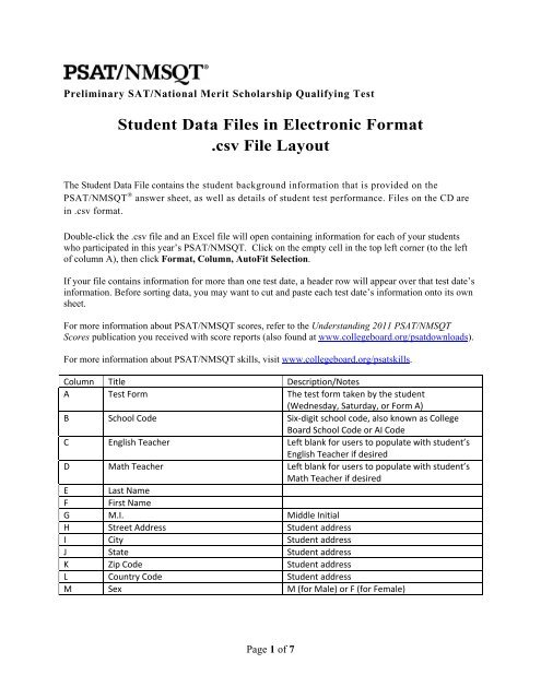 Student Data Files in Electronic Format  csv File