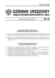 Dziennik Urzędowy nr 16 z dnia 09 grudnia 2005 - Komisja Nadzoru ...