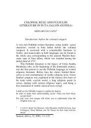 colonial rule and fulfulde literature in futa jallon (guinea)