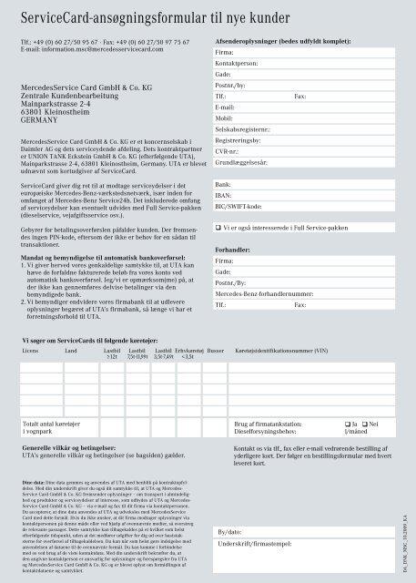 ServiceCard-ansøgningsformular til nye kunder - Mercedes-Benz ...