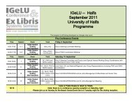 IGeLU -- Haifa September 2011 University of Haifa Programme