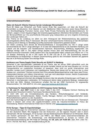 Newsletter - 2007-06-13 - Wirtschaftsforum Lüneburg eV