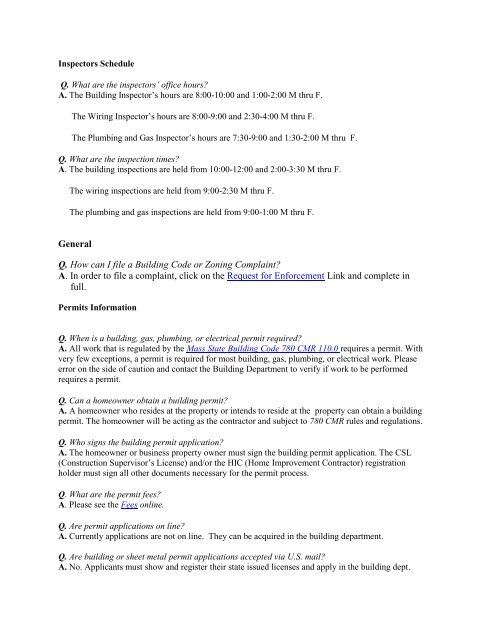 General Q  How can I file a Building Code or     - Town of