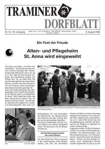 Alten- und Pflegeheim St. Anna wird eingeweiht - Traminer Dorfblatt