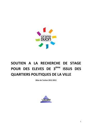 Bilan des stages de 3ème 2012 - le Grand Dijon