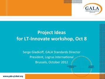 Project Ideas for LT-‐Innovate workshop, Oct 8