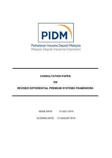 consultation paper on revised differential premium systems ... - PIDM