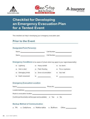 Checklist for Developing an Emergency ... - One Stop Rental