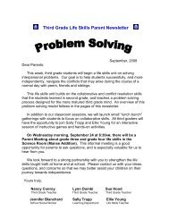 Third Grade Life Skills Parent Newsletter - Key School