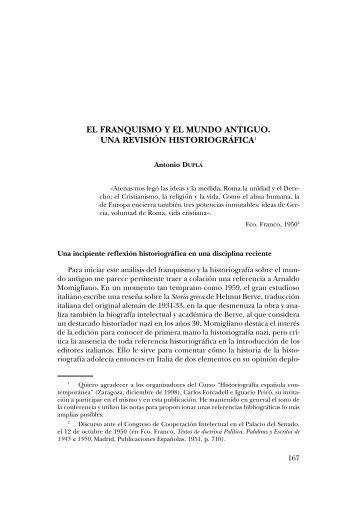 7. El franquismo y el mundo antiguo. Una - Institución Fernando el ...