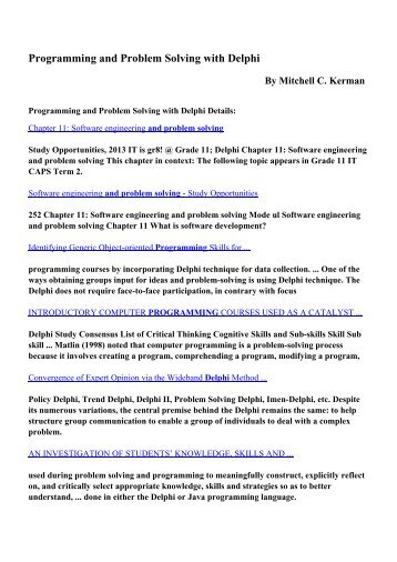 Download Programming and Problem Solving with Delphi pdf ...