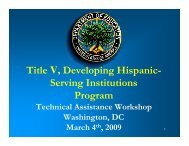 Title V, Developing Hispanic - Hispanic Association of Colleges and ...