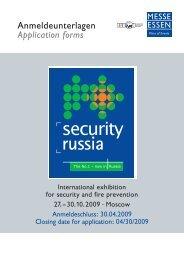 Anmeldeunterlagen Application forms - SECURITY RUSSIA 2009