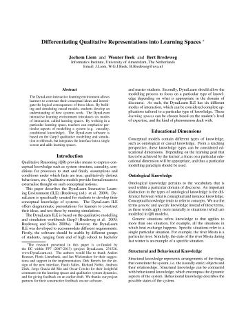 Differentiating Qualitative Representations into Learning Spaces