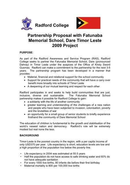 project outline - Radford College