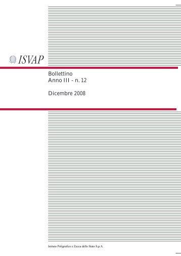 Bollettino Anno III - n. 12 Dicembre 2008 - Isvap