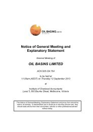 Notice of General Meeting/Proxy Form - Oil Basins Limited