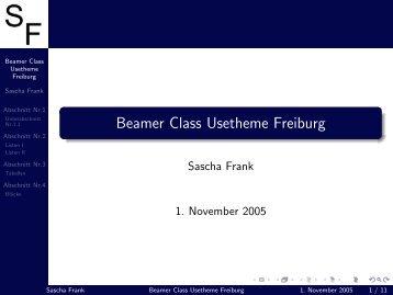 Beamer Class Usetheme Freiburg - LaTeX Kurse 2004-6 und ...