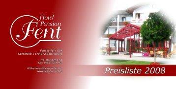 Preisliste 2008 - auf Hotel-Pension Fent