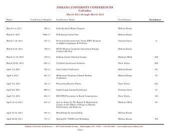 INDIANA UNIVERSITY CONFERENCES Calendar