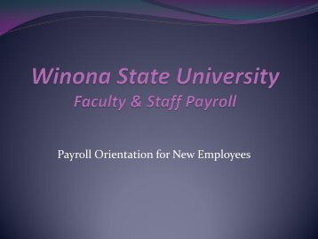 Winona State University Faculty & Staff Payroll