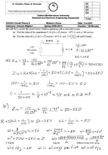 Mid Term I Exam - faraday - Eastern Mediterranean University