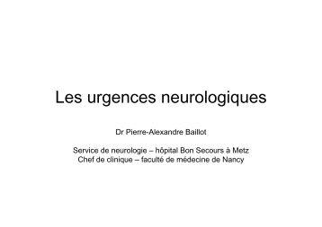 Les urgences neurologiquesBAILLOT 2012 - COLMU