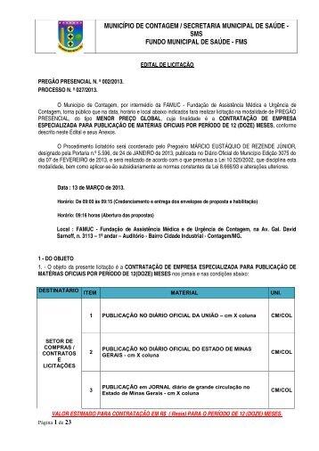 edital - publicações oficiais - Prefeitura de Contagem