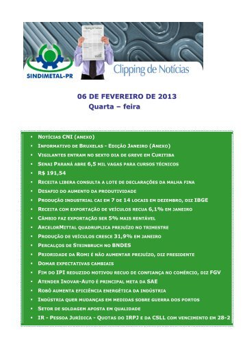 06 DE FEVEREIRO DE 2013 Quarta – feira - Sindimetal/PR