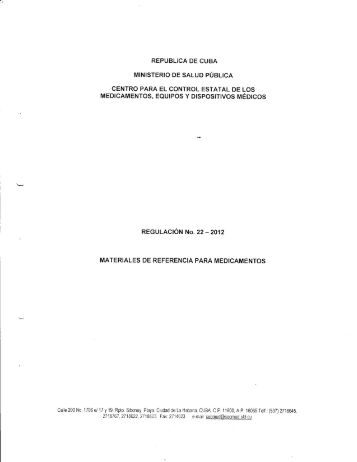 Materiales de referencia para medicamentos - Cecmed