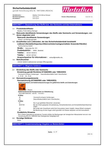 Sicherheitsdatenblatt gem. VO (EG) Nr. 1907/2006 ... - Metaflux