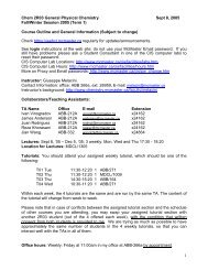1 Chem 2R03 General Physical Chemistry Sept 8, 2005 Fall/Winter ...
