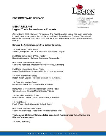 Media Release (pdf) - Legion BC/Yukon Command Website
